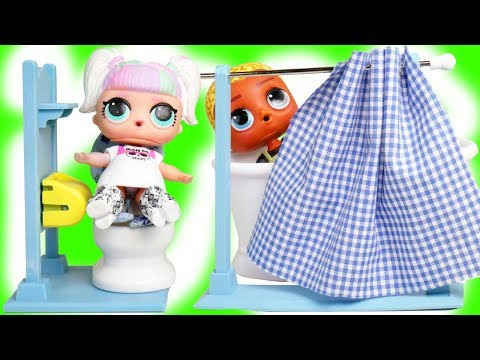 LOL Surprise Punk Boi Morning Routine in Bathroom with Series 5 hairgoals dolls