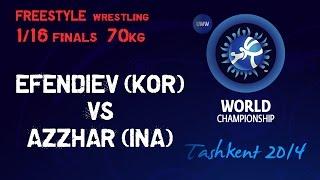 1/16 Final - Freestyle Wrestling 74 kg - Z. EFENDIEV (SRB) vs H. AZZHAR (INA) - Tashkent 2014