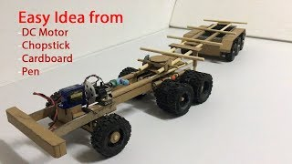 How to make RC Container Truck from Cardboard and Chopstick at home Very easy and simple