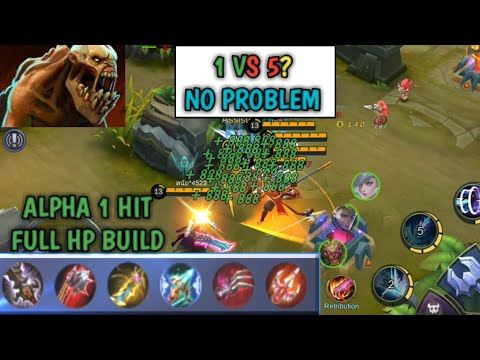 1 HIT FULL HP BUILD HIGHEST LIFESTEAL IN MOBILE LEGENDS 1vs5 NO PROBLEM