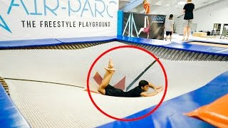 CRAZY GYM TRAMPOLINE TRICKS!