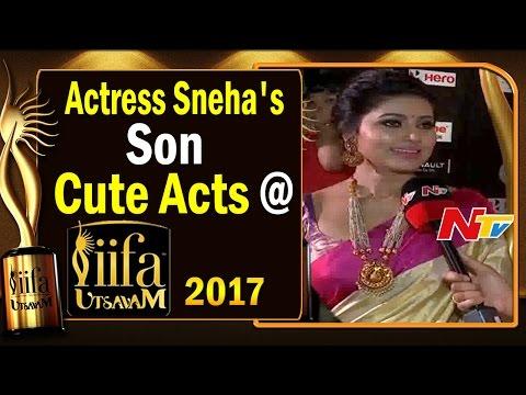 Actress Sneha's Son Cute Acts @ IIFA Utsavam || #IIFAUtsavam2017 || NTV
