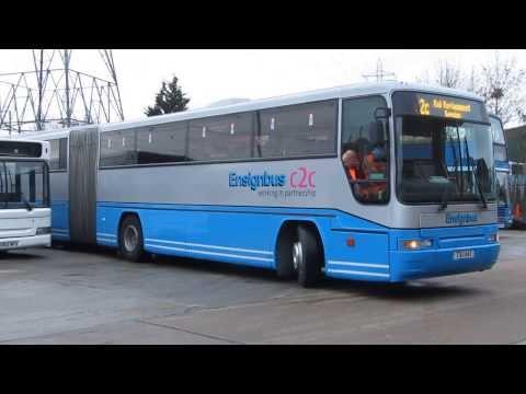 Reverse parking a bendy coach Ensignbus Volvo B10MA 55 TSU 642 back at base