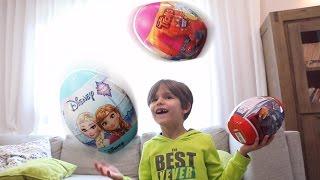 Giant Disney Surprise Eggs Juggling Fun - Frozen, Trolls and Cars