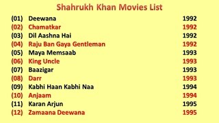 Shahrukh Khan Movies List
