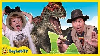 Raptor Dinosaurs vs Park Ranger Aaron In Real Life Dinosaur Park with Surprise Toys Fun Kids Video