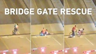 Bicyclistweaves past lift bridge gates, tumbles into gap