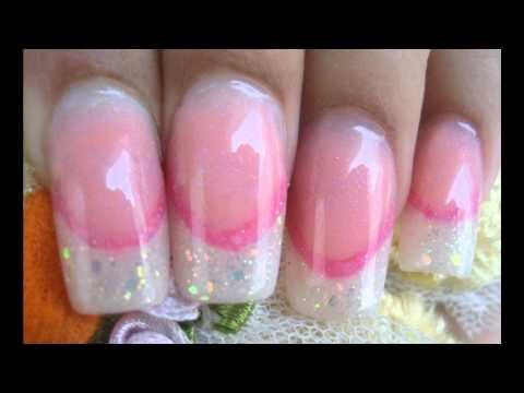 Uñas acrilicas con linea de sonrisa rosa y french tips con glitter 1ra parte