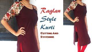 DIY Raglan Style Kurti cutting And Stitching, Raglan Sleeves Cutting and Stitching