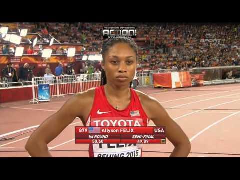 Allyson Felix wins women 400m Beijing 2015