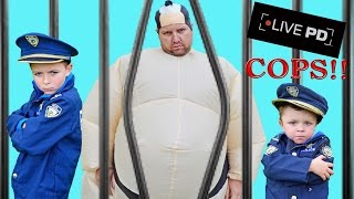 Kid Cops vs Sumo: LIVE PD Family Friendly Hilarious Epic Video Parody! Brothers take him to JAIL!!