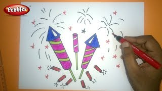 How to Draw Diwali Crackers Drawing | Diwali drawing for kids | step by step drawing tutorial