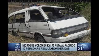Microbús se vuelca en la ruta al Pacífico