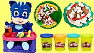 Disney PJ MASKS Catboy Eats in High Chair Play-doh Kitchen Creation Pizza Spaghetti Meatballs / TUYC