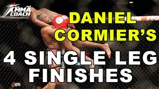 Daniel Cormier's 4 Single Leg Takedown Finishes