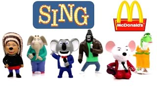 2016 McDONALD'S SING MOVIE HAPPY MEAL KIDS TOYS COMPLETE SET 6 COLLECTION ILLUMINATION CANTA EUROPE