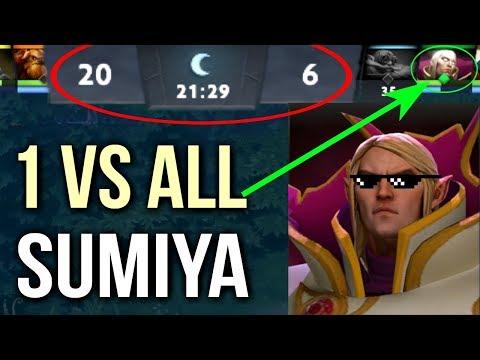 Unreal 1 vs 9 SumiYa Best Invoker Gameplay Epic Combo Comeback WTF Dota 2