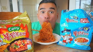 SPICY Icy Cool Type & Curry FIRE HOT NOODLES REVIEW | Mukbang | QT