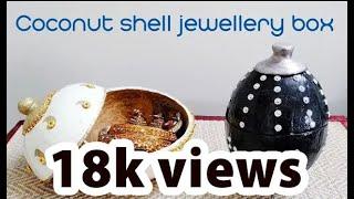 Handmade jewellery box   Coconut shell craft l DIY Jewellery box (coconut shell)