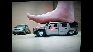 Nice long barefoot crush with Hummer H2