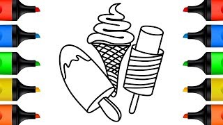 How to Draw Ice Cream for Kids Drawing and Coloring Pages Learn Colors for Children