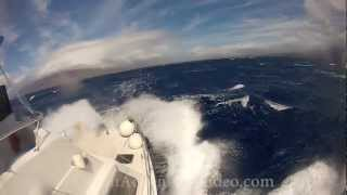 Boat in Rough Seas and Gale Force Winds