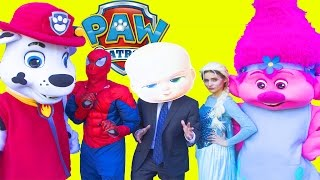Paw Patrol Marshall Hatchimal Hunt with Boss Baby In Real Life - Spiderman, Trolls Poppy # 3