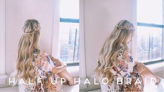 HAIR TUTORIAL | Half Up Halo Braid + Soft Romantic Curls