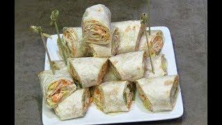أسرع مقبلات باردة  بدون طهي من ألذ مايكون مملحات سريعة préparer des wraps rapide