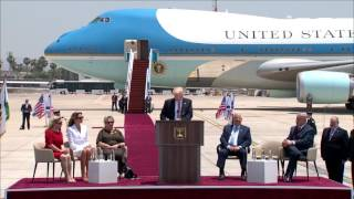 Trump delivers remarks at welcoming ceremony in Israel
