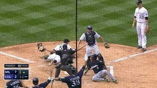 Brewers clear the bases on a wild pitch