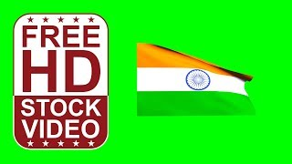 FREE HD video backgrounds –India flag waving on green screen – 3D animation