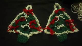 شغل شجرة كروشيه من مثلث بطريقة بسيطة مع تزينها للمبتدئينCrochet Christmas Tree -
