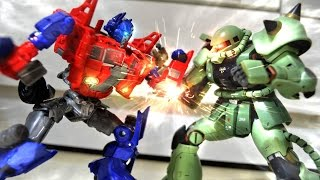 Transformers Prime VS Zaku stop motion - 柯博文VS薩克