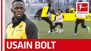 Usain Bolt´s Training Day at Borussia Dortmund - Skills, Sprints and Nutmegs