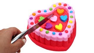 DIY How to Make Kinetic Sand Heart Cake Learn Colors Kinetic Sand Video Compilation for Kids