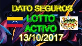Datos Lotto Activo 13/10/2017