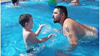 Kid Playing With Dad in Water - Swimming Pool Fun For Kids