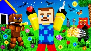 Minecraft - HELLO NEIGHBOR VS FNAF Battle - WHO KILLS WHO?