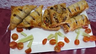 Bladerdeeg met groenten en frikandel   فطاير محشية بالخضروات واللحم سهلة التخضير وروعة المذاق