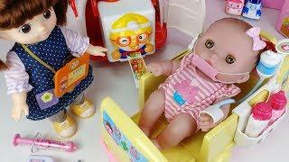 Baby Doll and Doctor pororo Band Hospital Ambulance toys car play 아기인형 의사 뽀로로 밴드 반창고 병원놀이 구급차 장난감