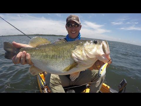 Cranking up Big Bass in a Kayak