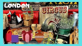 LONDON, the famous PORTOBELLO ROAD antiques market in Notting Hill (ENGLAND)