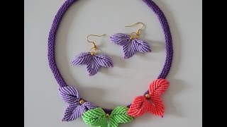 DIY Macrame tutorial. How to make pretty sweet macrame flowers for earrings or necklace.