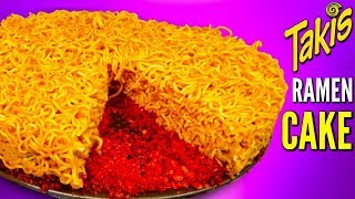 TAKIS RAMEN CAKE! - How To Make Spicy Noodles Flamin