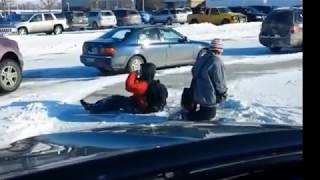 Ice slips and falls - funny