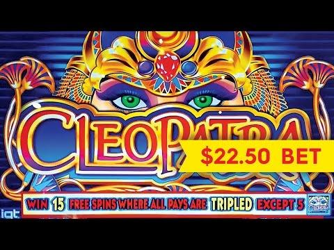 Cleopatra Slot - HIGH LIMIT $22.50 Max Bet BIG WIN Bonus!
