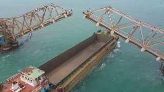 Ship crossing Pamban bridge at Palk strait sea (Travel to pamban) (पम्बन ब्रिज )