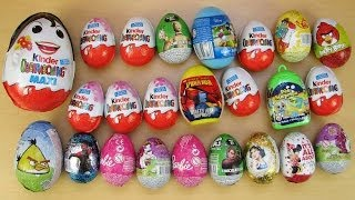24 Surprise Eggs Kinder Surprise Angry Birds Disney  Barbie Spiderman Filly