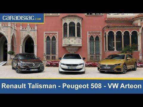 Comparatif vidéo Peugeot 508 vs Renault Talisman et Volkswagen Arteon